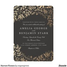 Harvest Flowers Fall Wedding Invitation. Elegant faux gold floral design with a dark gray background.