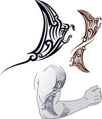 Maori Manta tattoo design vector art illustration