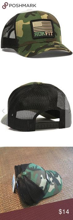 ROKFIT AMERICAN FLAG CAMO SNAPBACK HAT **STILL $25 ON ROKFIT.COM!** RokFit's American Flag Camo Trucker Style Hat with a mesh back snapback.  Hat Color: Camo / Black Front Embroidery: Screen Printed Patch with stitched Embroidery Outline Hat Style: Trucker Style with Mesh back, snapback ROKFIT Accessories Hats