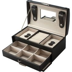 This black jewelry box features multiple velvet lined compartments for organizing and storing jewelry. The classic jewelry box is the perfect place to store jewelry in style and its compact size is ideal for traveling.