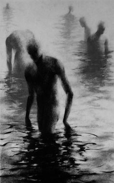"Haunting Figure Drawing Gothic Moody Dark Shadow Crayon Wading Water Fog Fine Art ""Unknown I"""