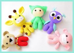 Amigurumi Baby and Animal Friends Crochet Toy Crochet Owl Giraffe Bear Monkey doll rattle