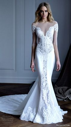 pallas couture 2016 wedding dresses illusion half sleeves illusion boat neckline sweetheart neckline bodice beautiful lace embroidery fit flare mermaid gown chapel train estrella