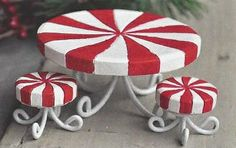 """Candy Cane Table and Stools make a winter wonderland garden come alive. These bright colored Table and Stools will give the fairies a sweet seat to sit in.  Product Dimensions: Table- 1 1/4"""" H x 2 1/4"""" W x 2 1/4"""" D  Product Material: 3/4"""" H x 3/4"""" W x 3/4""""D  Price: $10.95"""