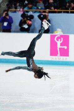 Surya Bonaly of France performing her signature backflip during warm up at the 1994 Olympic Winter Games at Lillehammer, Norway. While never an Olympic medallist, Bonaly was five times European Champion (1991-95) and three times the World Championship Silver Medallist (1993-95). The backflip had been banned in competition since 1976.