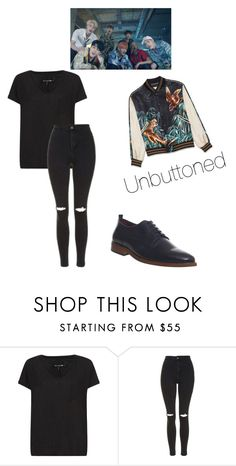 """""""BTS - FIRE M/V """"Infired"""""""" by lemmebiteyou ❤ liked on Polyvore featuring rag & bone, Topshop and Poste"""