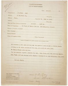 This activity requires students to examine the arrest record of an un-named person. Students will analyze and evaluate the data contained in the document, applying prior knowledge, to discern what happened in the incident and the identity of the person involved. It is Rosa Parks, but her name has been blacked out in the activity.