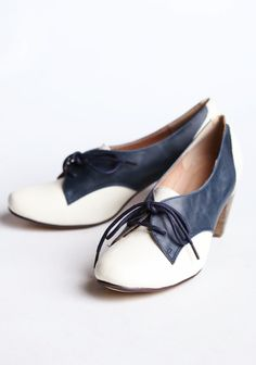 Chelsea Crew Susan Oxford Heels In Blue And White 59.99 at shopruche.com. Perfected with vintage charm, these navy and ivory leatherette oxfords by Chelsea Crew are finished with a stacked heel and turned up toe., ,  leather blend upper,  Synthetic sole,  Padded footbed,  Heel: 2.5""