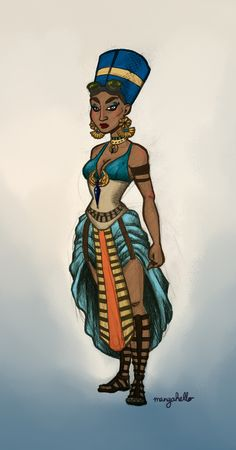 I couldn't think of what to draw, so I found this random drawing generator, and got Nefertiti in a steampunk style. So what we have here is a bastardisation of my knowledge of traditional Egyptian...