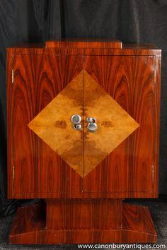 Art Deco Cabinet Mahogany Chest 1920s Furniture Lozenge Inlay | eBay