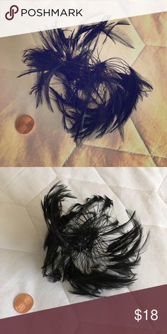 Vintage Feather Hat Accessory Vintage black feathered wire hat accessory. Beautiful condition! Looks great pinned in hair or around a ponytail or bun. Best guess on age is 1950s or 1960s. Accessories Hair Accessories