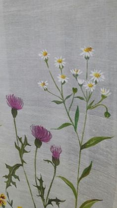 옥사에 꽃밭 만들기 Saree Painting, Fabric Painting, Fabric Art, Watercolor Cards, Watercolour Painting, Fabric Paint Designs, Japanese Embroidery, Simple Flowers, Embroidered Flowers