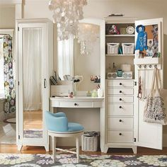 Stunning White Wooden Dressing Table For Girl Bedroom With Drawer Storage Beside Mirror Along With Small Blue Chair On Floral Pattern Rug Stunning Dressing Table Design for Girls in Creative Ideas
