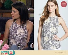 Robin's white and grey leopard print tank top on How I Met Your Mother.  Outfit Details: http://wornontv.net/29836/ #HIMYM