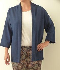 chaqueta tipo kimono azul