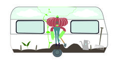 Digital illustration, Final design caravan DDW14 for 'Kleingemaakt' by @Studio Kontra