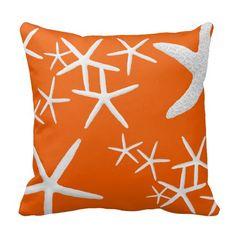 Persimmon Orange Starfish Decorative Throw Pillow
