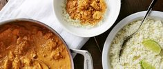 Cleaned Up Butter Chicken. A healthier spin on a takeout favourite. This Cleaned Up Butter Chicken is dairy-free and served over cauliflower rice to keep it light! Dairy Free Recipes, Easy Healthy Recipes, Paleo Recipes, Dinner Recipes, Cooking Recipes, Gluten Free, Dinner Ideas, Cooking Ideas, Healthy Meals
