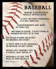 Framed Baseball Player Sayings 8x10 Poster Print