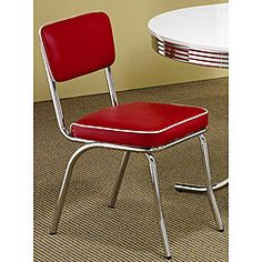@Overstock - Add some color to your dining room with a pair of red retro chrome dining chairs  Retro style furniture has a clean, updated look  Chairs feature chrome plated steel tube framing for retro styling with contemporary quality http://www.overstock.com/Home-Garden/Rose-Red-Retro-Chrome-Chairs-Set-of-2/3678344/product.html?CID=214117 $182.99