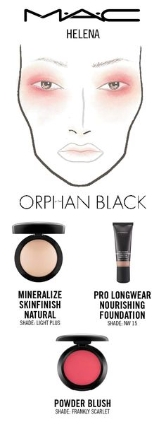 Orphan Black'sHelena look by makeup designer Stephen Lynch.Created using MAC Mineralize Skinfinish, Pro Longwear Nourishing Foundation, and Powder Blush in Frankly Scarlet.
