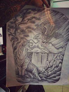 Phoenix Art, Tiger Tattoo, Tattoo Sketches, Lunges, Mandala, Tapestry, Fantasy Art, Tattoos, Tatoo