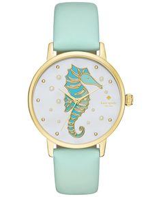 kate spade new york Women's Metro Mint Splash Leather Strap Watch 34mm KSW1102 - Watches - Jewelry & Watches - Macy's