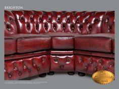 Chesterfield 3 coin Brighton 3H3 Antique bordeaux rouge