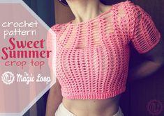 Sweet Summer crochet crop top - free pattern · The Magic Loop Crochet Summer Tops, Crochet Crop Top, Crochet Blouse, Cute Crochet, Crochet Tops, Crochet Shorts, Crochet Ideas, Crochet Projects, Crochet Skirt Pattern