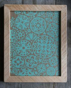 Items similar to blue Cutouts framed silkscreen print on Etsy Textile Prints, Textile Design, Silk Screen Printing, Mark Making, Surface Design, Paper Cutting, Art Deco, Screenprinting, Aqua Blue