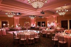 Breathtaking rose pink #uplighting in this gorgeous venue!: #boardsweddingbee