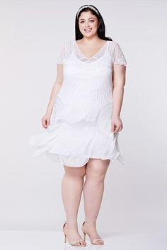 Plus size Beatrice White Flapper Dress Slip Included Great Gatsby Art Deco Charleston Bridal Shower Beach Wedding Handmade White Dress, 1920s Fashion Dresses, Fashion Belts, Fashion Shoes, Plus Size Bridal Dresses, Vintage Inspired Dresses, Fashion Tips For Women, Womens Fashion, Women's Style Tips