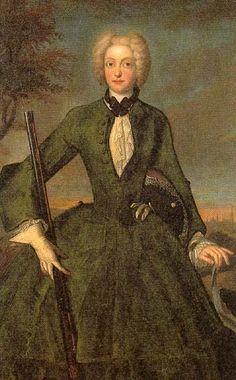 Maria Amalia von Bayern (1701-1756) hunting dress by ? (Schloß Schleißheim - Oberschleißheim, Bayern Germany)   Grand Ladies   gogm
