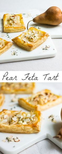 Sliced pears with crumbled feta cheese, sliced almonds, thyme, and honey drizzled on top, all on a bed of golden puff pastry. Recipe via http://MonPetitFour.com