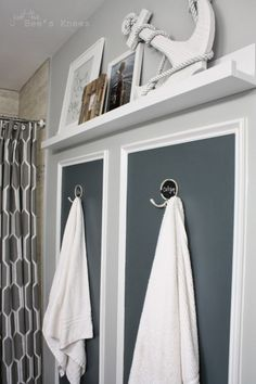 Sherwin Williams Grays Harbor - love the color, and white shelf with brown vanity