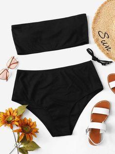 bc796a3587 Shein Plus Ribbed Bandeau With High Waist Bikini Set