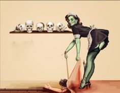 creepy vintage Halloween pin up