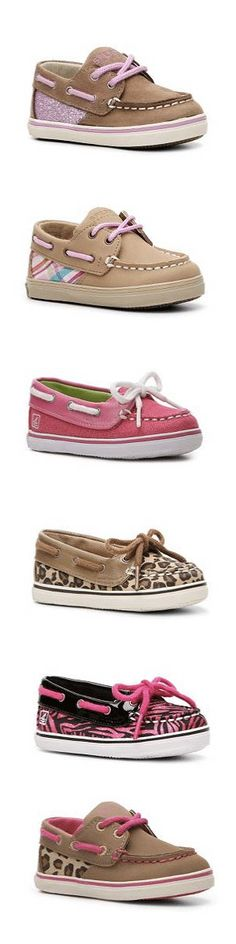 If I had a baby girl right now, i'd be in so much trouble! Adorable Sperry boat shoes in all sorts of designs!!