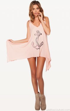 BABY ANCHOR DREAMER TANK at Wildfox Couture in HEY SAILOR!, POODLE PINK