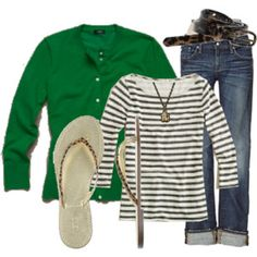 Strip Top / Green Cardigan / Jeans