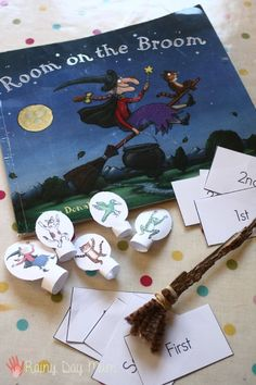 Room on the Broom Learning Ordinal Numbers Learning Ordinal Numbers with Book, Room on the Broom by Julia Donaldson (from Rainy Day Mum) Number Activities, Kindergarten Activities, Book Activities, Halloween Math, Halloween Themes, Julia Donaldson Books, Early Years Maths, Ordinal Numbers, Room On The Broom