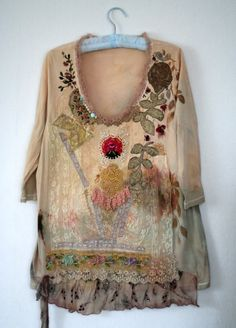 Cute with Leggings~ RESERVED--layaway balance for B-- Golden laurel, artful wear, textile collage shirt, tunic, hand embroidered and beaded Hippie Chic, Bohemian Mode, Bohemian Style, Boho Chic, Fashion Moda, Boho Fashion, Womens Fashion, Punk Fashion, Fashion Dresses
