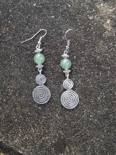 Earrings - Spiral of Life with Aventurine by Nattspinnas on Etsy