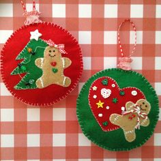 Gingerbread Felt Ornaments / Christmas Tree Ornaments / Gingerbread Christmas Decorations / Set of 2 / Handmade and Design in Felt