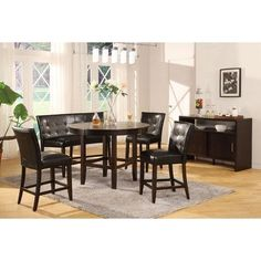 """Bossa 5 Piece Round Counter Height Dining Table Set in Dark Chocolate with Black Leatherette Seats Size: 48"""" by Modus Furniture. $642.28. 2Y2162R48/2Y0270 Size: 48"""" Features: -Black leatherette chairs.-Contemporary style.-Large apron gives the table a substantial feel.-Stylish design blends contemporary and transitional elements.-Floating top and apron detail lend a sophisticated look.-Luxurious padded leatherette seat and chair back with webbed no-sag seat cushion for e..."""