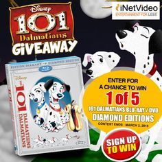 Win 1 Of 5 101 Dalmations Blu-Ray / DVD Diamond Editions! Expires:  March 2, 2015 | Eligibility:  United States, Canada | 18+ Click to enter!