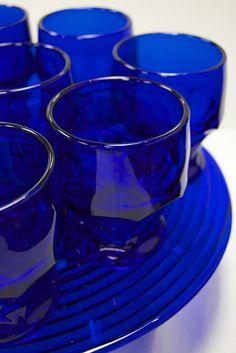 Cobalt Blue Retro Beverage Glasses with Faceted Bases