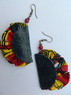 Blue Embossed Leather multicolor ankara jewelry, African Ethnic Masai Multicolour gift Earrings