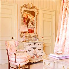 A French inspired girl's bedroom designed by Charles Faudree.