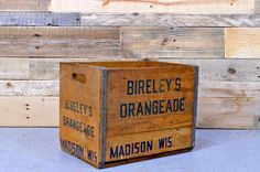 Vintage BIRELEY'S ORANGEADE crate, RARE, Vintage Wood Crate, Decorative Storage, Madison, Wisconsin Crate by NorthboundSalvage on Etsy https://www.etsy.com/listing/195944684/vintage-bireleys-orangeade-crate-rare